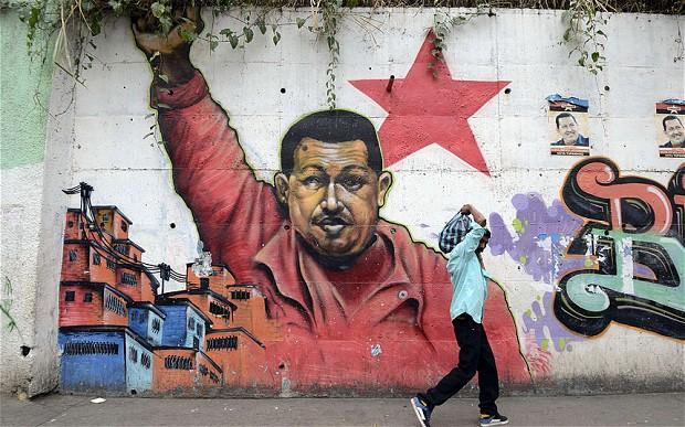 A mural of Venezuelan President Hugo Chavez in Caracas  Photo: AFP/GETTY