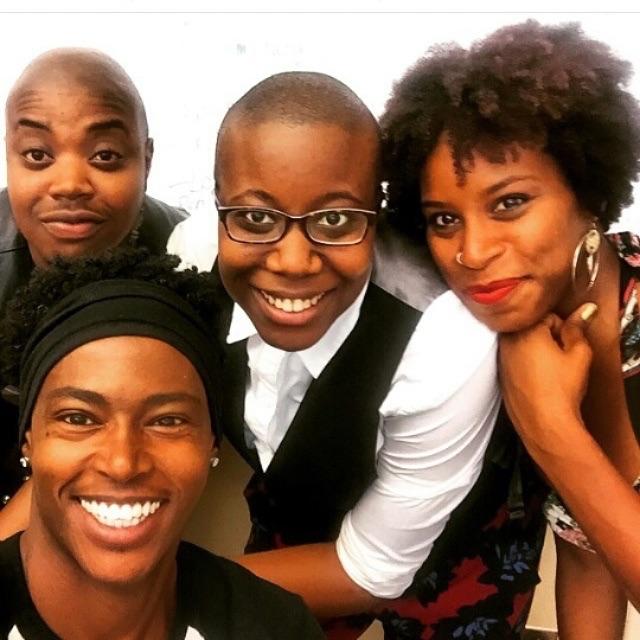 Black queer beauties at #amc2015. 😙😘😎 #dismantlingivorytower (l-r: Van Bailey, Kai Green, Moya Baily, Jessica Marie Johnson) Snapped June 18, 2015, Detroit, MI, #AMC2015