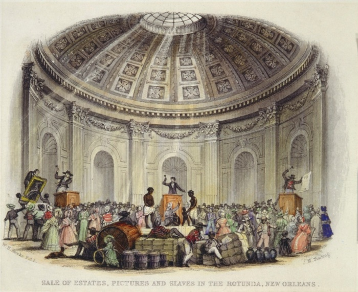 Sale of Estates, Pictures and Slaves in the Rotunda, New Orleans; by William Henry Brooke, engraver; engraving with watercolor from The Slave States of America, vol. 1; London: Fisher and Son, 1842; The Historic New Orleans Collection, 1974.25.23.4