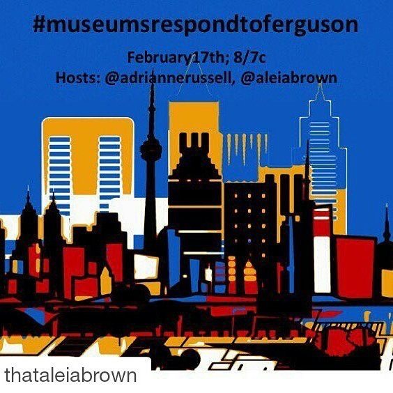 "#Museumsrespondtoferguson is TONIGHT 8/7c. Join @anrussell and me for a discussion on museums using new media to engage Black curatorial projects. We asked participants to read @jmjafrx 's piece ""Doing and Being Intellectual History: #Formation As Curated By Black Women at http://www.aaihs.org/"