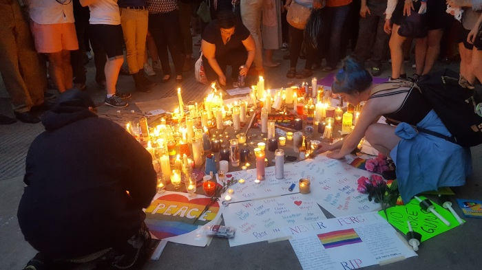 One of several memorials at Philadelphia's City Hall. Taken after a vigil held on June 13, 2016 and hosted by Philly Dyke Walk