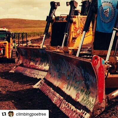 #Repost @climbingpoetree with @repostapp ・・・ Military-style raid in progress at Standing Rock right now! Our friends there are asking for folks to pray and help dispel the terror so there may be room for the ancestors to come through and help us all protect our water. #waterislife #nodapl Go to our page to see full composition.