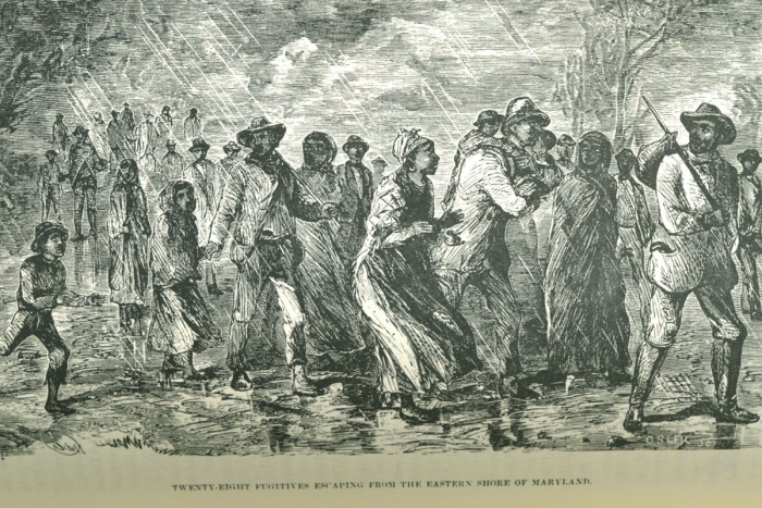 "Source William Still, The Underground Railroad (Philadelphia, 1872), facing p. 102. (Special Collections Department, University of Virginia Library) Comments Caption, ""Twenty Eight Fugitives Escaping From the Eastern Shore of Maryland."" Still was the son of fugitive slaves and headed the underground railroad in Philadelphia through the 1850s (information provided by Phil Lapsansky, Library Company of Philadelphia)."